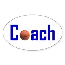 Basketball Coach Blue Oval Decal