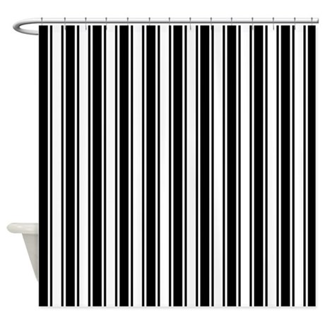 Black white ticking stripe shower curtain by artandornament for Black and white striped bathroom accessories