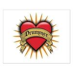Drummer Tattoo Heart Art Small Poster