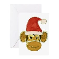Santa Monkey Head Greeting Card