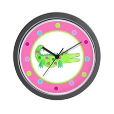 Alligator Pink Polka Dots Wall Clock