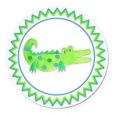 Alligator Blue Green Zig Zag Round Car Magnet