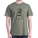 Easter Island Moai Dude Olive Green T-Shirt