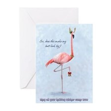 flamingo holiday humor Greeting Cards (Package of