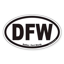 Dallas Fort Worth DFW Euro Oval Decal