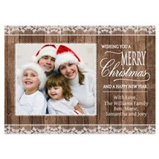 Rustic Wood and Lace Custom Photo Christmas Card I