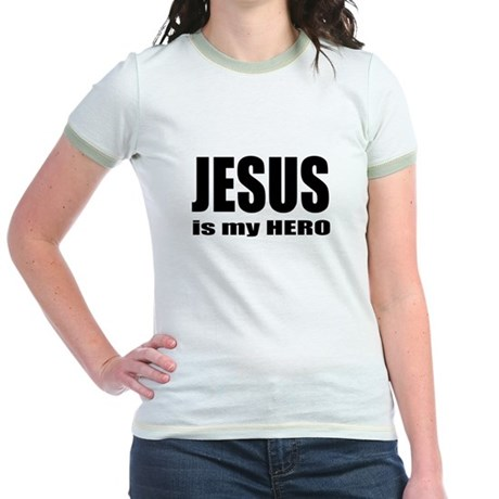 Jesus is Hero Jr. Ringer T-Shirt