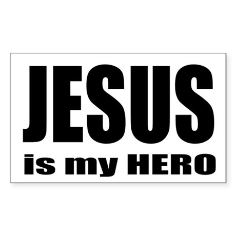 Jesus is Hero Rectangle Sticker