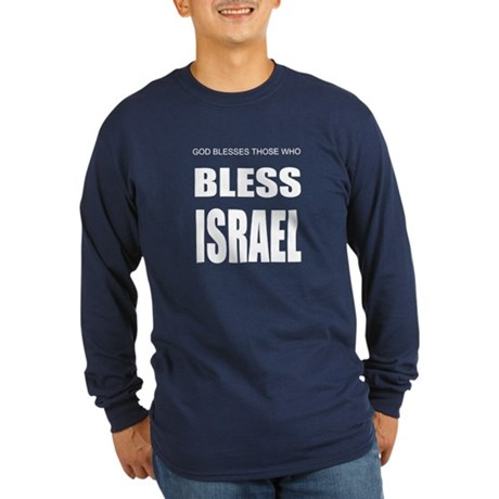 Bless Israel Long Sleeve Dark T-Shirt