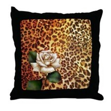 rose leopard print  Throw Pillow