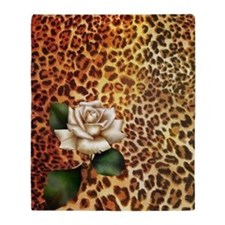 rose leopard print  Throw Blanket