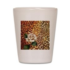 rose leopard print  Shot Glass