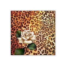 """rose leopard print  Square Sticker 3"""" x 3"""""""