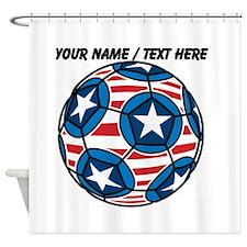 Custom Stars And Stripes Soccer Ball Shower Curtai