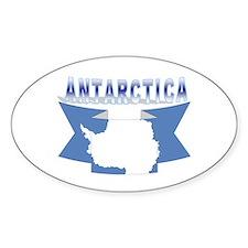 Antarctic flag ribbon Oval Decal