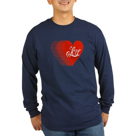 Love Heart Long Sleeve Dark T-Shirt