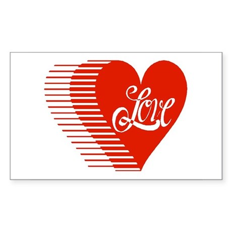Love Heart Rectangle Sticker