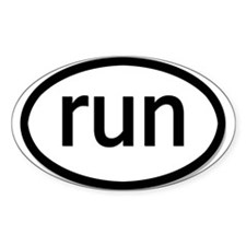 run - Oval Bumper Stickers