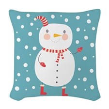 Snowman Woven Throw Pillow