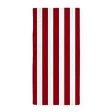 Brick Red and White Vertical Striped Beach Towel