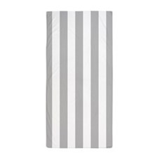 Light Gray and White Vertical Striped Beach Towel