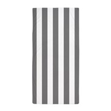 Gray and White Vertical Striped Beach Towel