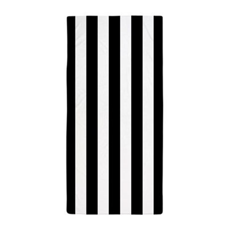 Black and white vertical striped beach towel by 1512boulevard for Black and white striped bathroom accessories