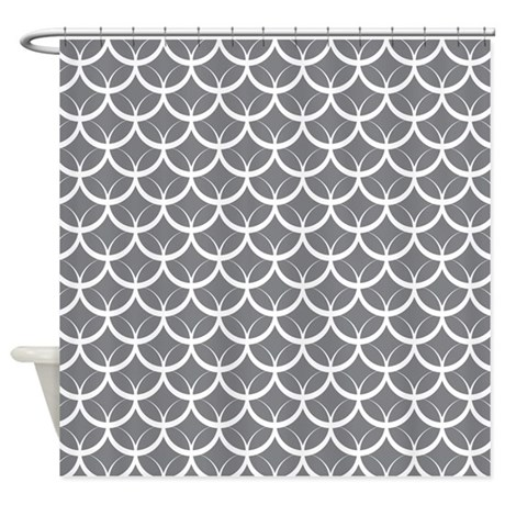 Dark Gray Circle Pattern Shower Curtain By MightyNiceStuff