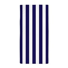 Navy Blue and White Vertical Striped Beach Towel