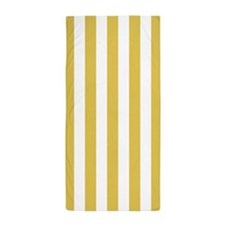 Yellow and White Vertical Striped Beach Towel