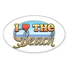 I Love the Beach Oval Decal