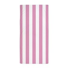 Pink and White Vertical Striped Beach Towel