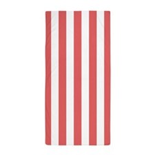 Cayenne and White Vertical Striped Beach Towel