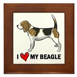 I Heart My Beagle Framed Tile