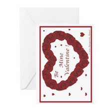 Red Rose Wreath with Hearts Greeting Cards (Packag