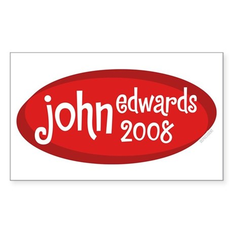 John Edwards 2008 Retro Rectangle Sticker