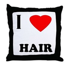 I love hair Throw Pillow