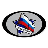 """Russia Star Flag"" Oval Decal"