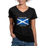 Overtown Scotland Women's V-Neck Dark T-Shirt