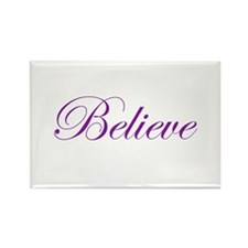 Purple Believe Rectangle Magnet