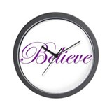 Purple Believe Wall Clock