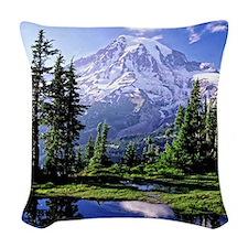 Mt Raineer National Park Woven Throw Pillow