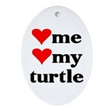 LOVE ME LOVE MY TURTLE Oval Ornament