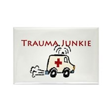 Trauma Junkie Ambulance Rectangle Magnet