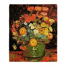 Van Gogh - Vase with Zinnias and Oth Throw Blanket