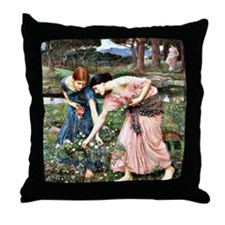 Waterhouse: Gather Ye Rosebuds While  Throw Pillow