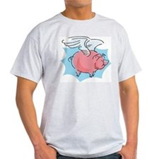 Cute Flying Pig Ash Grey T-Shirt
