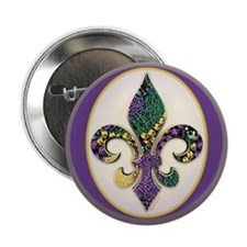 Fleur de lis Mardi Gras Beads Button