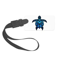 Black Tribal Turtle Luggage Tag