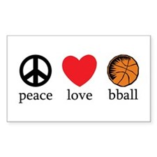 Peace Love bball Rectangle Decal